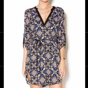 Lush 3/4th Sleeved Printed Tunic Dress with Belt M